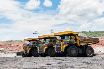 Big dump truck is mining machinery, or mining equipment to transport coal from open-pit or open-cast mine as the Coal Production