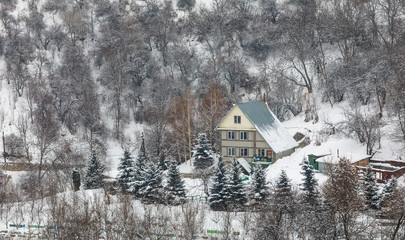 cottage in the snowy mountains