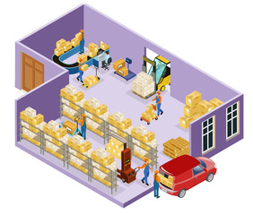 Isometric Warehouse Logistic Template