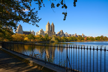 Central Park Reservoir and Upper West Side buildings in Fall. Central Park West, Manhattan, New York City