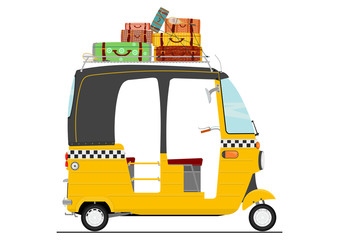 Flat vector exotic cartoon three wheeler tuk tuk rickshaw. Side view of transport vehicle.