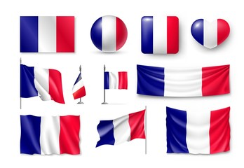Set France flags, banners, banners, symbols, flat icon. Vector illustration of collection of national symbols on various objects and state signs