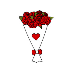cute cartoon vector lovely red roses bouquet