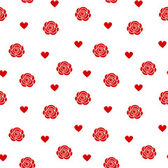 cute lovely red roses and hearts seamless vector pattern background illustration