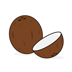 cartoon vector coconut isolated on white background