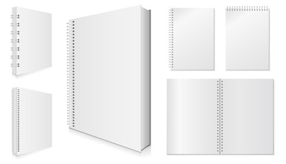 Blank Spiral Notebook Vector Illustration Set.
