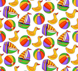 Beach toys duck ball and boat doodle colorful seamless vector pattern