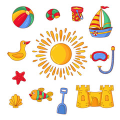 Summer time vacation beach doodle icons vector set