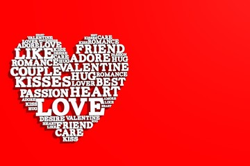 Heart shape made from love words. Valentines day. 3D rendering