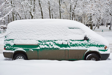 Commercial vehicle van after snowfall