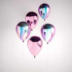 Set of iridescence holographic and pink foil balloons isolated on gray background. Trendy design 3d elements for birthday, presentation, promo, party or other events.