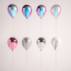 Set of iridescence holographic foil balloons isolated on gray background. Trendy realistic design 3d elements for birthday, presentation, promo, party or other events.