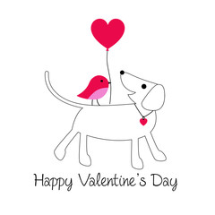 ute dog and bird valentine with balloon