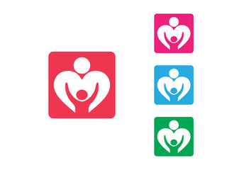 orphan child adoption family with heart shape iconic vector logo design