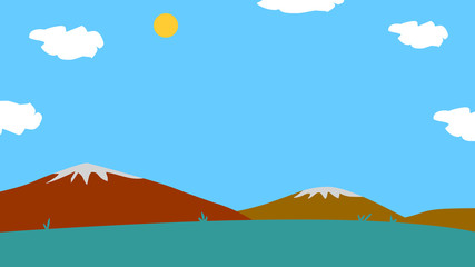 Background for animation, mountain and meadow