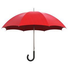Roter Regenschirm isoliert weißer Hintergrund