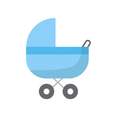 Baby carriage isolated on white background. Baby transport. Vector stock