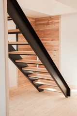 Ingelijste posters Trappen Modern straight metal stairs