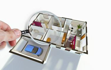 Plan aménagement intérieur d'une maison individuelle