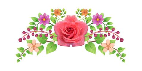 Composition florale - Fleurs et Feuilles - low-poly