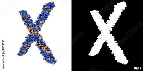 Litera X 3d Sześciany Kwadraty Klocki Piksele Stock Photo And