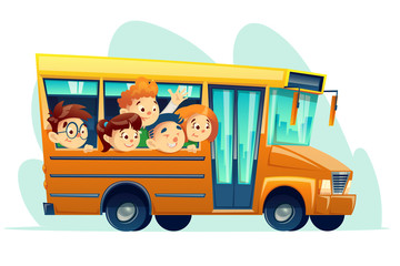 Vector cartoon school bus full of smiling kids. Yellow retro vehicle with smiling boy girl student characters. Children education, transportation travelling design concept, white isolated background