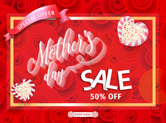 Mothers day sale 50% off banner template for social media advertising, invitation or poster design.