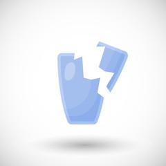 Broken drinking glass flat vector icon