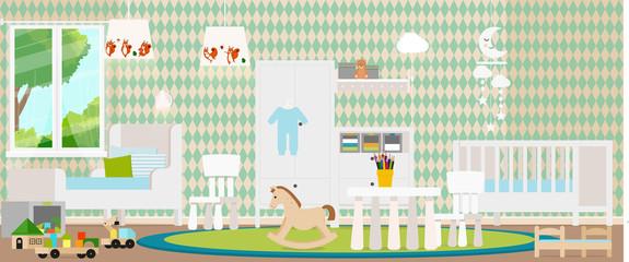 Trendy design of the children's room. Vector illustration.