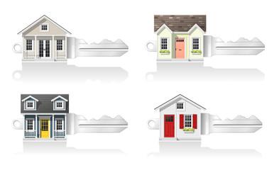 Set of small house keys isolated on white background , vector , illustration