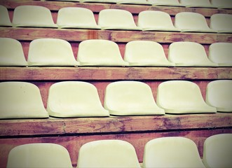 Aluminium Prints Stadion stadium bleachers with no people before the meeting sports with vintage effect