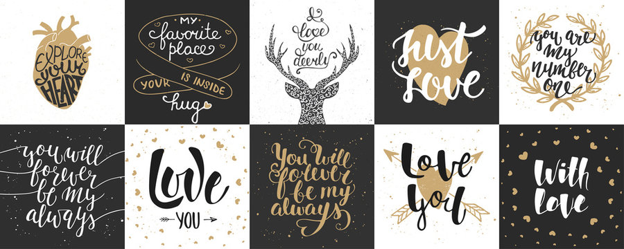 Set of romantic and love vector hand drawn unique typography design element for greeting cards, decoration, prints and posters. Modern calligraphy. Handwritten lettering.