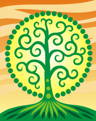 Tree of life and sun
