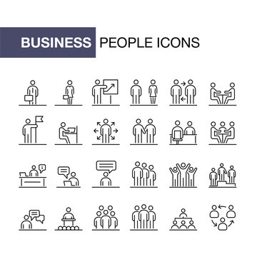 Business people icons set simple line flat illustration
