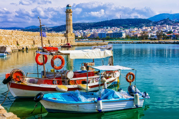 Pictorial colorful Greece series - Rethymnon with old lighthouse and boats, Crete