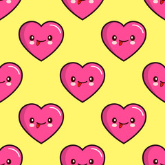seamless pattern of smiling hearts on yellow background vector wallpaper textile Illustration EPS Valentine s Day
