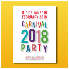 plain white carnival brochure with colorful carnival 2018 typography and red text on yellow background
