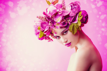 lady in wreath of flowers