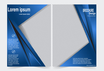 Blue Brochure template flyer design, front and back template for annual report