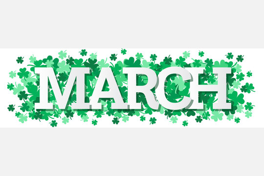 March Single Word With Shamrocks Banner Vector Illustration 1