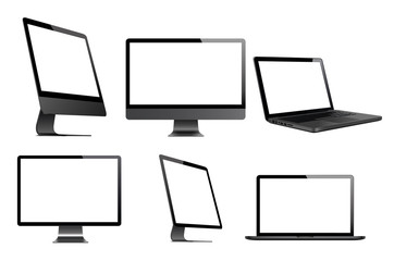Set of computer, laptop, tablet and phone in a flat vector style
