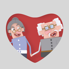 Older couple in love posing into red heart.