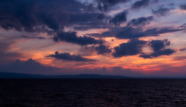 Vibrant purple sunset