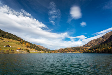 Autumn at the Davos Lake, Grisons, Swiss