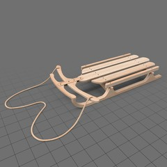 Wooden snow sled