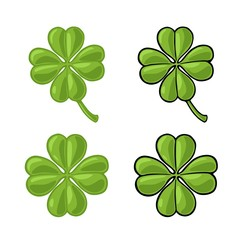 Good luck four leaf clover. Vintage vector color engraving illustration for info graphic, poster, web. Black on white background