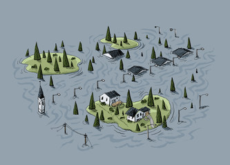 Cartoon of an aerial view of a village that has been hit by a flood with some areas of land still above water.