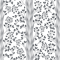 Trees. Seamless vector pattern. Abstract nature background.