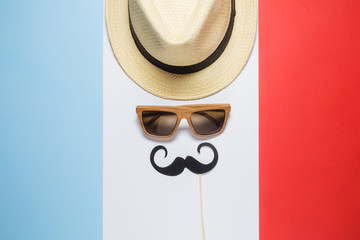 Old fashioned frenchman abstract on french flag background