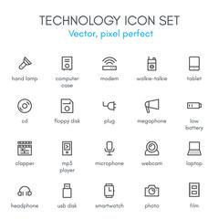 Technology theme, line icon set.